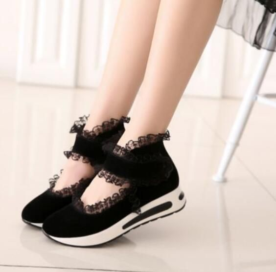 Women Sweet Brim Lace Suede Casual Trainers Flat Lolita Athletic Sneakers Shoes