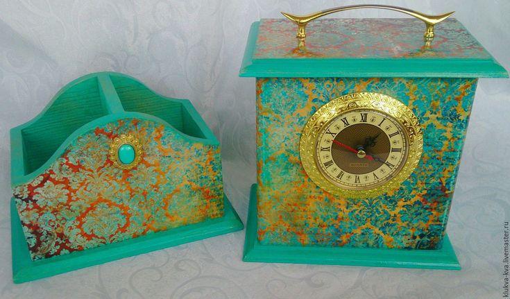 Купить Набор Часы и органайзер - бирюзовый, комплект на рабочий стол, часы с капсулой, короб-часы