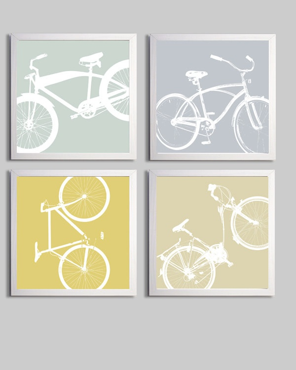 Bicycle Art Silhouette set of 4 prints