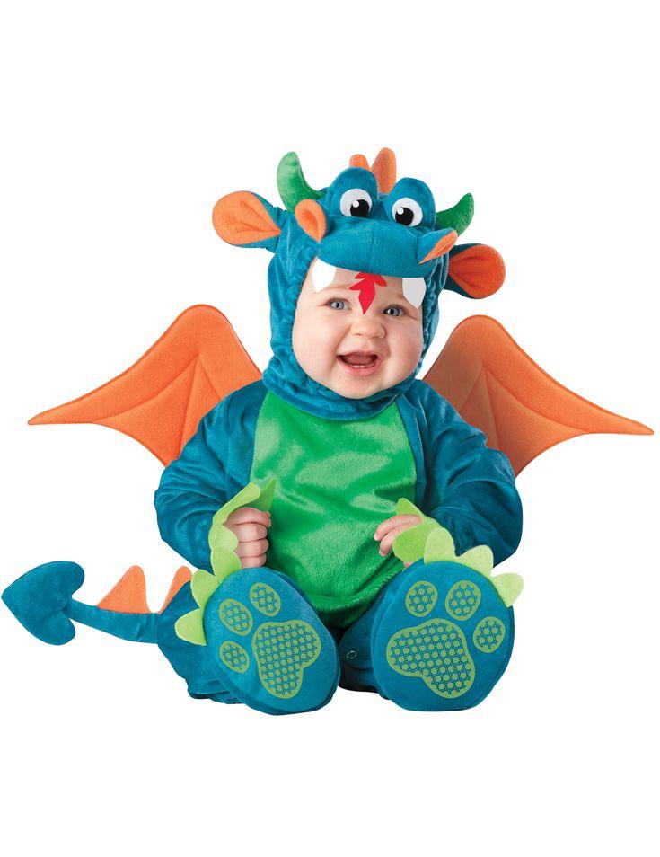 Hochwertiges Drachen-Kostüm für Kleinkinder in blau, grüin und orange mit Drachenfüßen, Schwanz, Drachenkopf und Flügeln