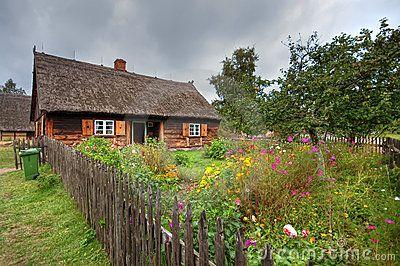 Old rural village scenic. Poland, Kashubian region (Wdzydze Kiszewskie). HDR image.