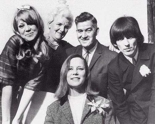 1966 - Pattie Boyd, Louise Harrison, Harold Harrison, Diana Drysdale (Pattie's mom) and George Harrison, George and Pattie wedding day.