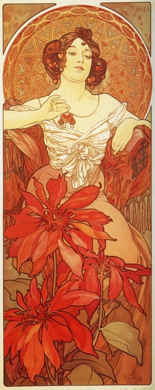 The Precious Stones, Ruby by Alphonse Mucha.
