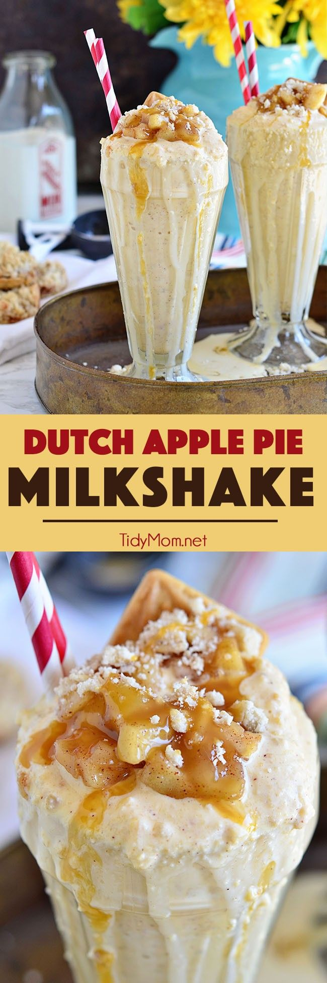 No plate and fork needed for this apple pie a la mode! A cool and creamy DUTCH APPLE PIE MILKSHAKE is the perfect blend of creamy vanilla ice cream, apple pie filling, and crumb topping. Recipe at Tidymom.net