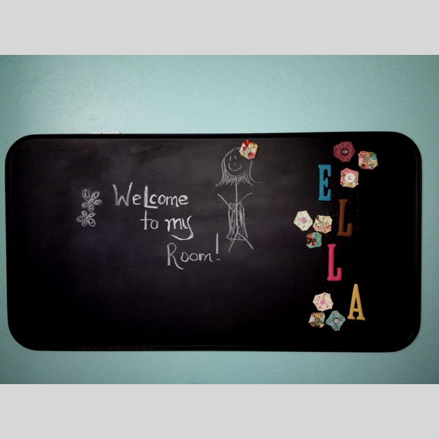 Oil Drip Pan Chalkboard Paint Fabric Flower And Wooden