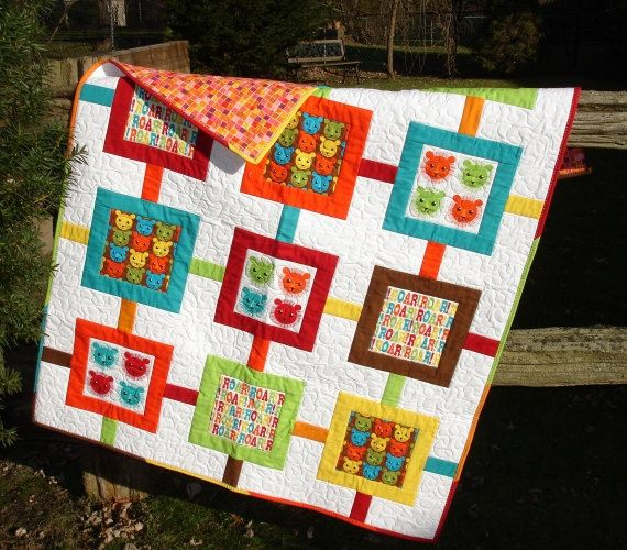 Hey, I found this really awesome Etsy listing at https://www.etsy.com/listing/219978375/modern-childbaby-quilt-with-lion-theme