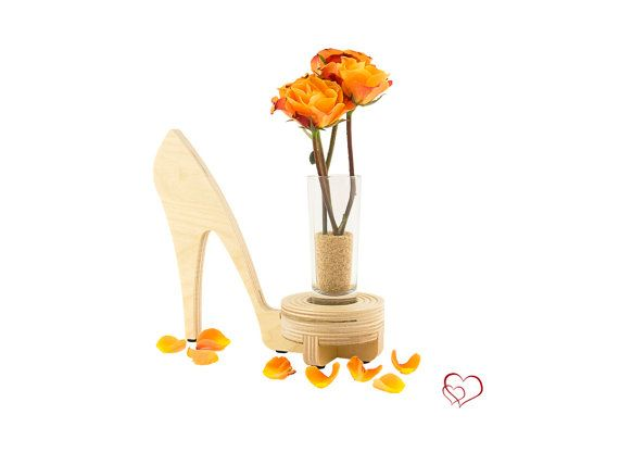 How Cute!  20% off for Valentines Day - High Heel Modern Candle Holder with Glass Vase by KkornerInnovations on Etsy