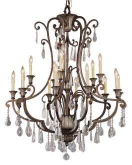 Crystal Flair Antique Bronze Chandelier (3965) Trans Globe