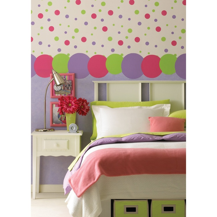 Kidding Around Large Dots Wallpaper Border, Pink/Green, 9