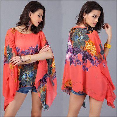Винтаж женщина тропический Цветочный Принт batwing рукава шифон блузка Blusas Femininas 2015Casual большие размеры женские топы хиппи AY334