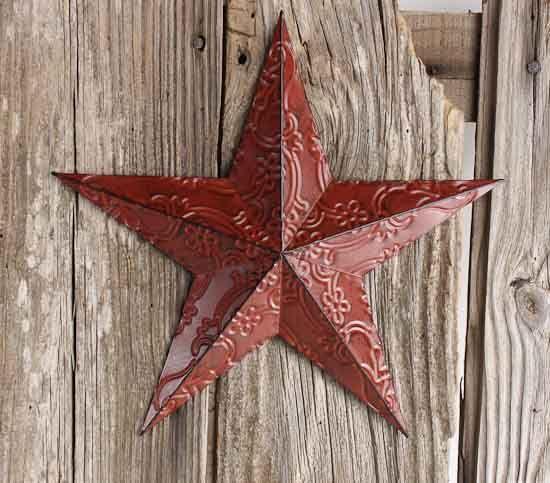 Red Metal Embossed Barn Star