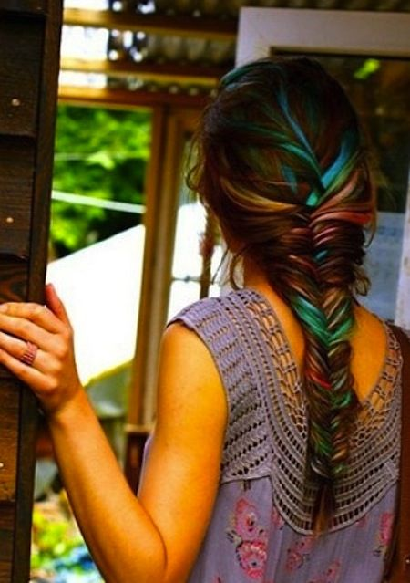 hair chalk. I have some and I must say it works pretty darn good, and it washes out when you wash your hair.