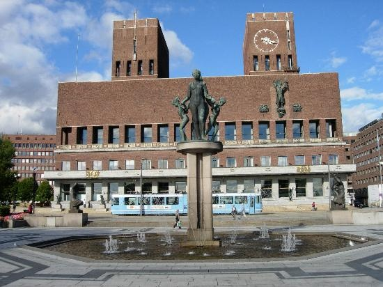 CITY HALL OSLO NORWAY. Another Great-Aunt, Beula, traveled to Norway & Sweden and sent a post card of Oslo's City Hall in the 1960's.