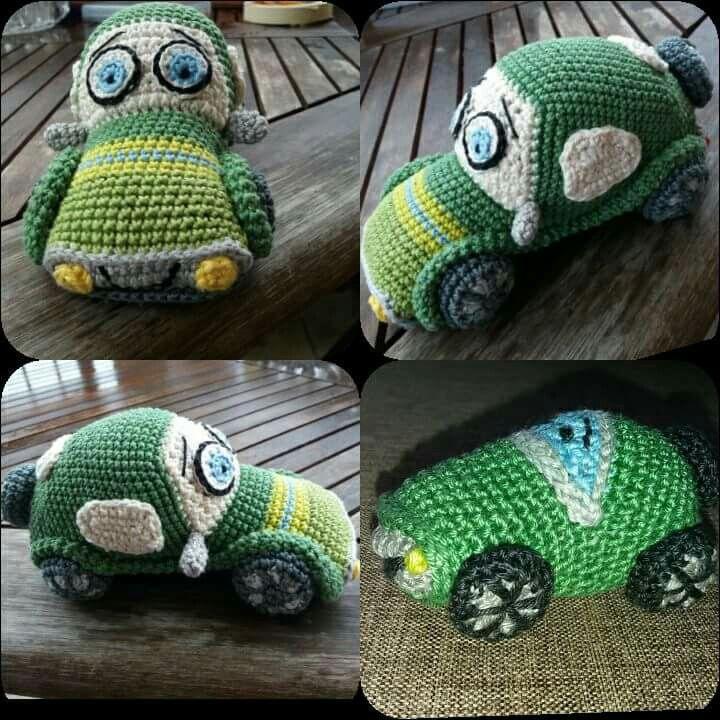 Crocheted green car