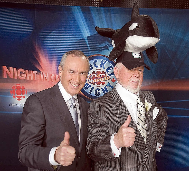 """one of the very rare times i've seen don cherry in a """"normal"""" suit  -  CBC Hockey Night in Canada television hosts Ron McLean and Don Cherry pose before the start of the game between the Vancouver Canucks and Calgary Flames at General Motors Place on March 31, 2007. (Getty Images)"""