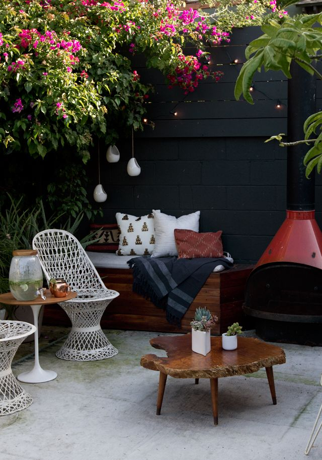 Two things make an outdoor gathering fun - refreshments and plenty of comfy seating. Keep the fun going for your guests and bring the drink table outside.