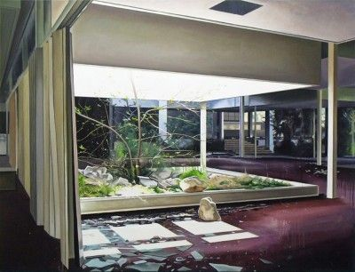Ross M Brown, Light Well – 130 x 170 cm – Oil on canvas – 2015  Lacey Contemporary Gallery Notting Hill London  Landscape Painting Architecture