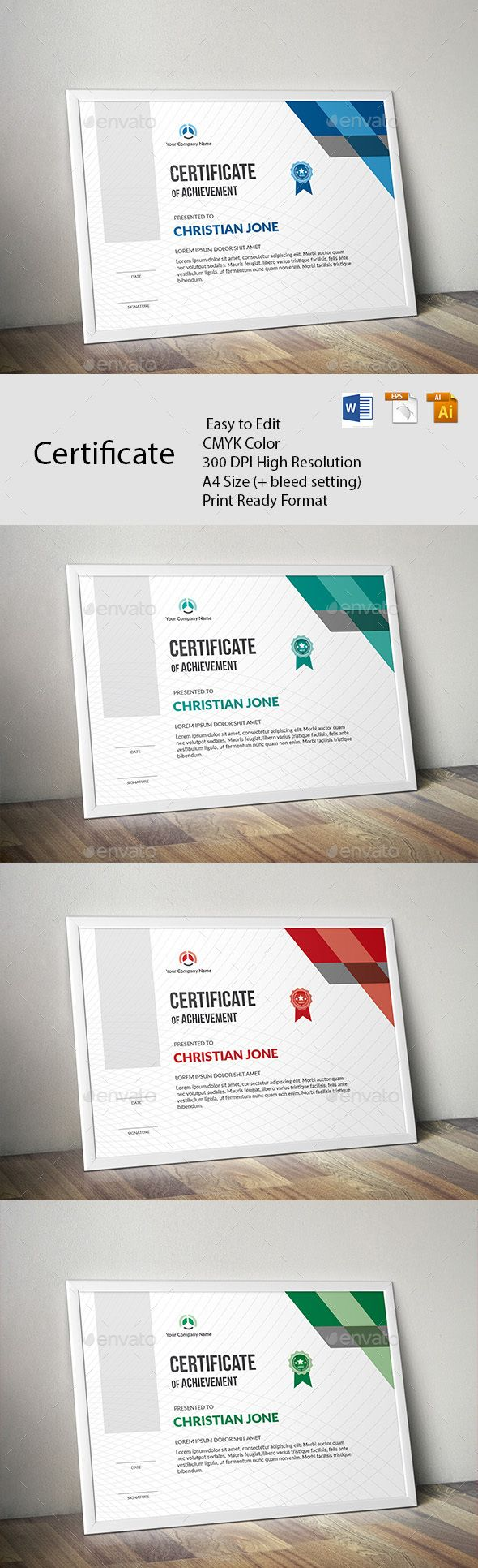 Certificate A GREAT CREATIVE CERTIFICATE TEMPLATE FOR CREATIVE PERSON. FEATURES:      Easy to Edit     CMYK Color     300 DPI High Resolution     A4 Size (+ bleed setting)     Print Ready Format     Free Fonts      FILES INCLUDES:     8 Ai, EPS & 4 word File      FONTS USED: