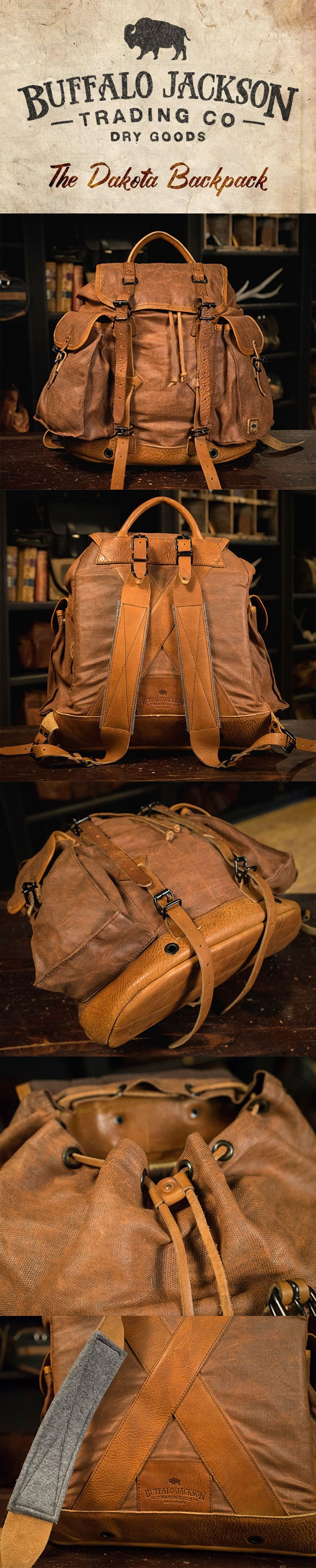 Crafted of waxed canvas and full grain leather with a distressed vintage finish, this men's vintage military rucksack was built to honor the memory of good men and good days. Also available in charcoal (shown here in tan). vintage military backpack | vintage army rucksack