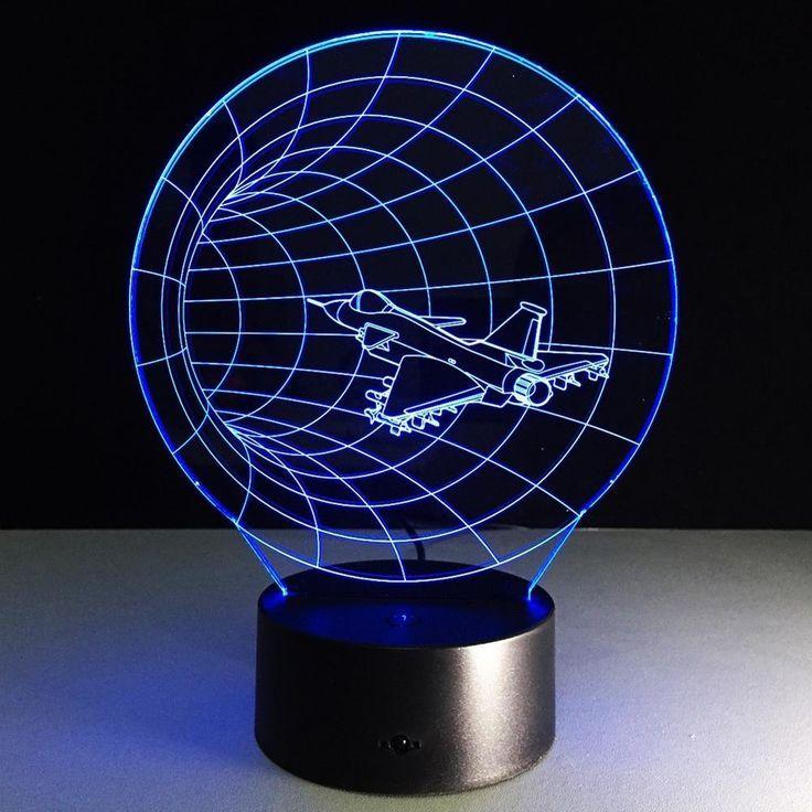 Pilotenzimmer 3d Led Nachtlicht Lampe In Form Eines Flugzeuges Die Kinderlampe Erzeugt Eine Coole Flugzeug Illusion Mood Lamps 3d Night Light 3d Led Lamp