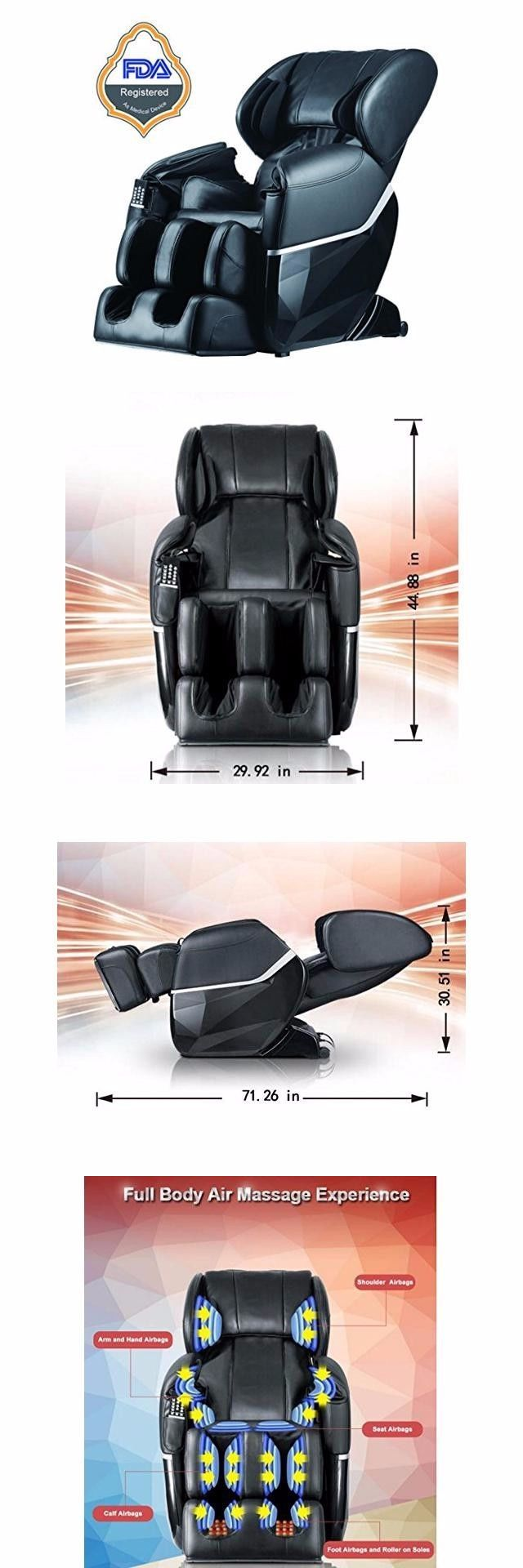 Electric tv recliner massage chair black with a footstool www vidaxl - Electric Massage Chairs Electric Full Body Shiatsu Massage Chair Recliner Zero Gravity W Heat 77