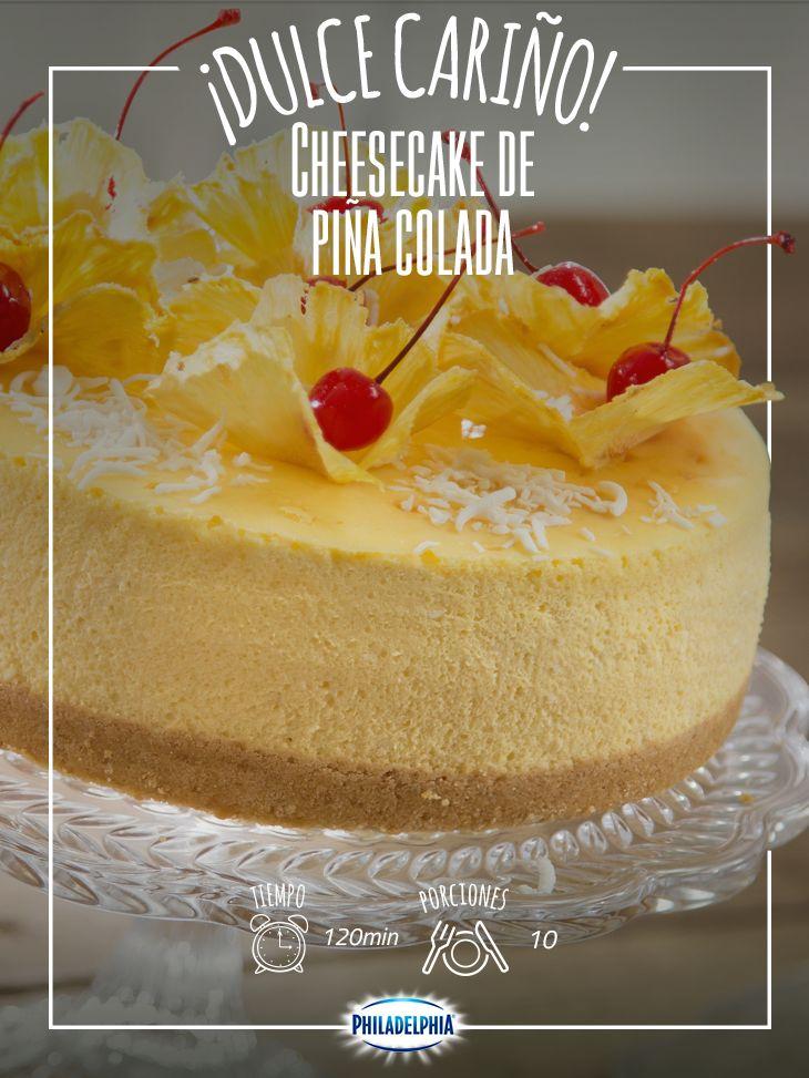 Una receta clásica que lleva generaciones en nuestra familia: Cheesecake de piña colada.   #Cheesecake #Piña #PiñaColada #CheesecakePiña #CheesecakePiñaColada #Postre #PostrePhiladelphia #Philadelphia #QuesoPhiladelphia