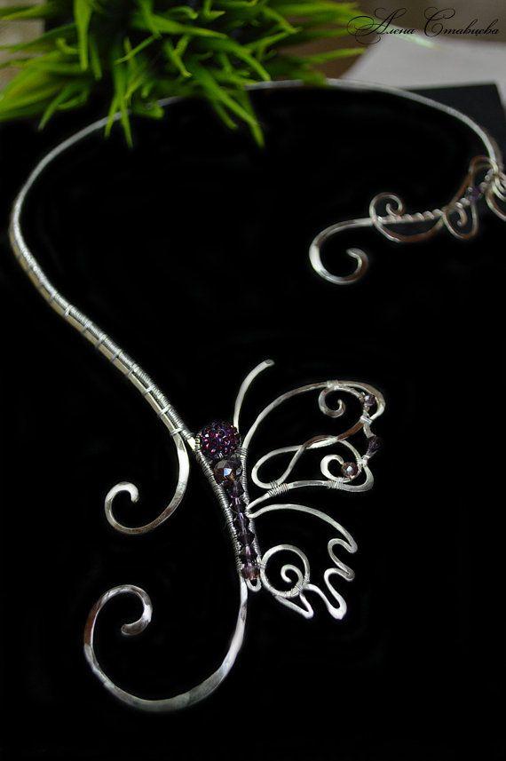 Halskette Schmetterling Silber Schmuck von AlenaStavtseva auf Etsy