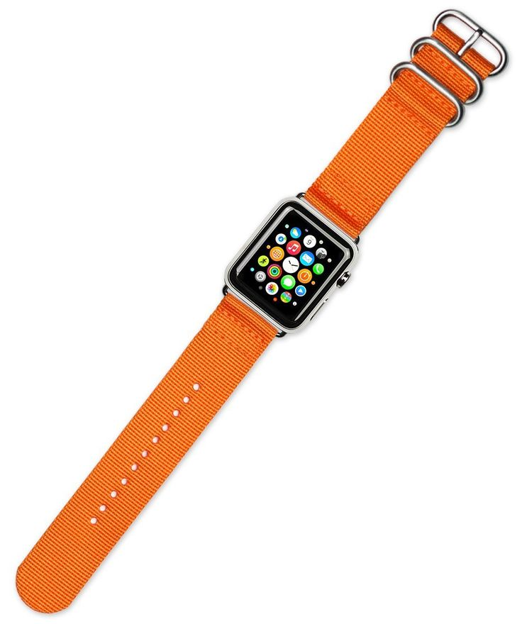 """Debeer Replacement Watch Band - 2-Piece Nylon - Orange - Fits 38mm Series 1 & 2 Apple Watch [Silver Adapters]. deBeer brand replacement watch strap for 38mm Apple Watch. Fits any 38mm Apple Watch. Fit's series 1 and series 2. Complete with polished silver adapters installed on strap. Genuine Ballistic Nylon. Men's long length - 8.5"""". Great way to customize your Apple Series 1 and Series 2 Watch for different occasions."""