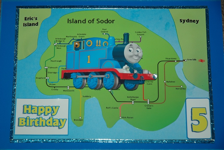 """another Thomas card. This is $6 plus postage. can use the childs name and location for the side islands. and age can be changed. the card is around 6"""" x 8.5"""""""
