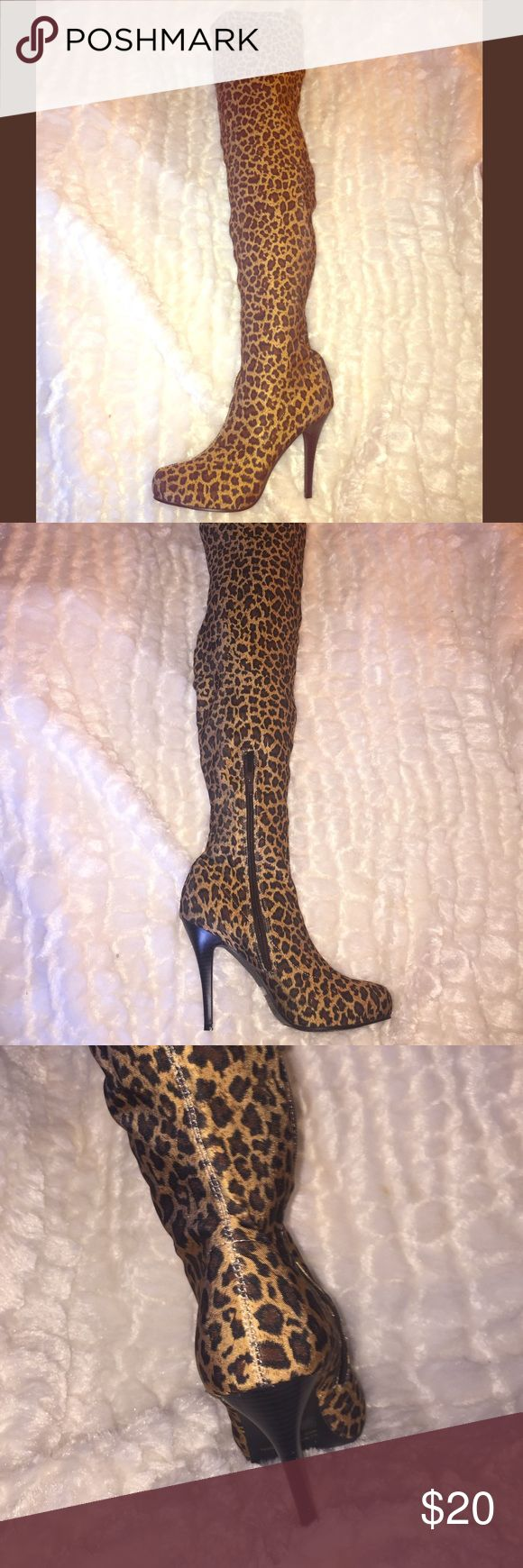 Knee High Leopard Print Boots I bought these for a Halloween costume (I wanted to Rihanna in the Rude Boy Video lol) but I never used them Shoes Heeled Boots