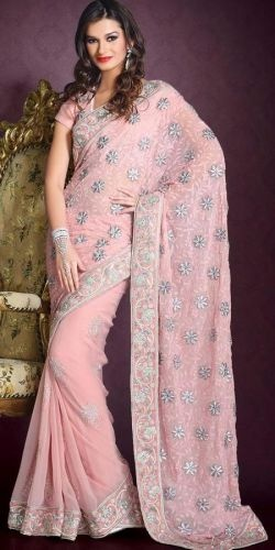 Coral Net Saree