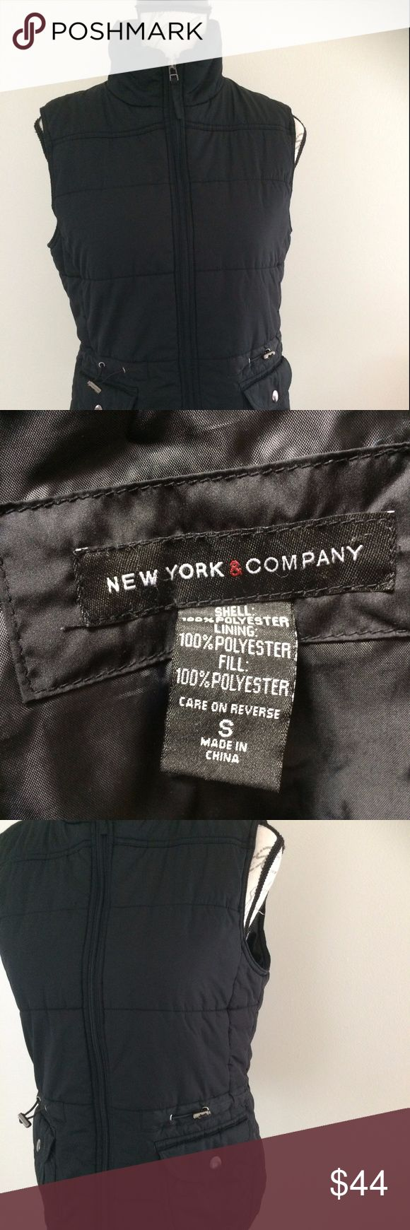 "New York and Company Black Vest Puffer Small Machine wash. Used but good condition. 100% polyester, lined in 100% polyester. Made in China.  Dry clean with toggles at the waist so you can get a great fit. 24"" long, 19"" bust laid flat approximately.  Make me an offer! New York and Company Jackets & Coats Vests"