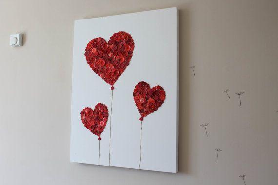 Large Button Art Red Love Heart Balloons by cuteasbuttonsart