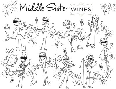 Middle Sister Wines Coloring Book – Wine Sisterhood: Women who love wine, food, travel, crafts, entertaining