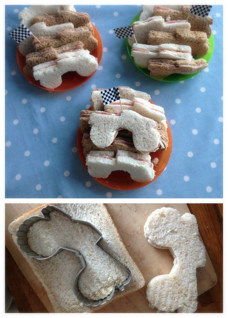 monster truck food, monster truck sandwiches. time consuming but fun! i cut the bread and meat separately. My MIL made bread crumbs and bread pudding with the edges of the bread!