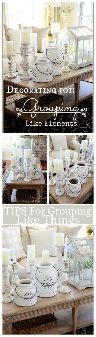 TIPS FOR GROUPING LIKE ELEMENTS- Make a bold decor http://statement-stonegableblog.com