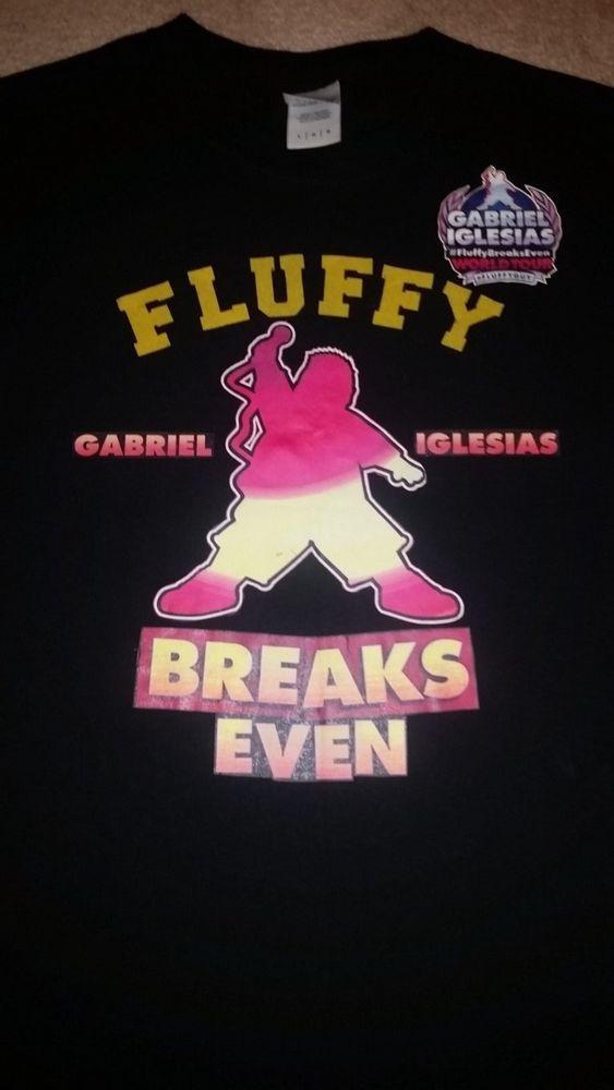 Gabriel Iglesias Fluffy Breaks Even World Tour Black Tshirt Size Large