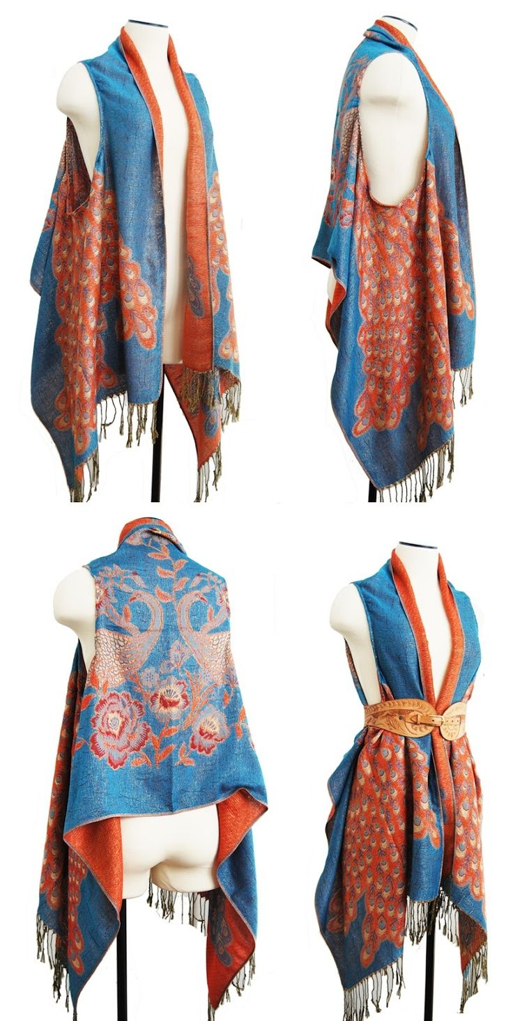 Jessamity: Project: DIY draped vest: I have some of these scarves that would make nice vests.
