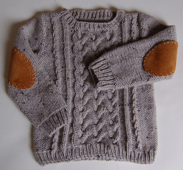 Cabled toddler sweater with suede elbow pads!