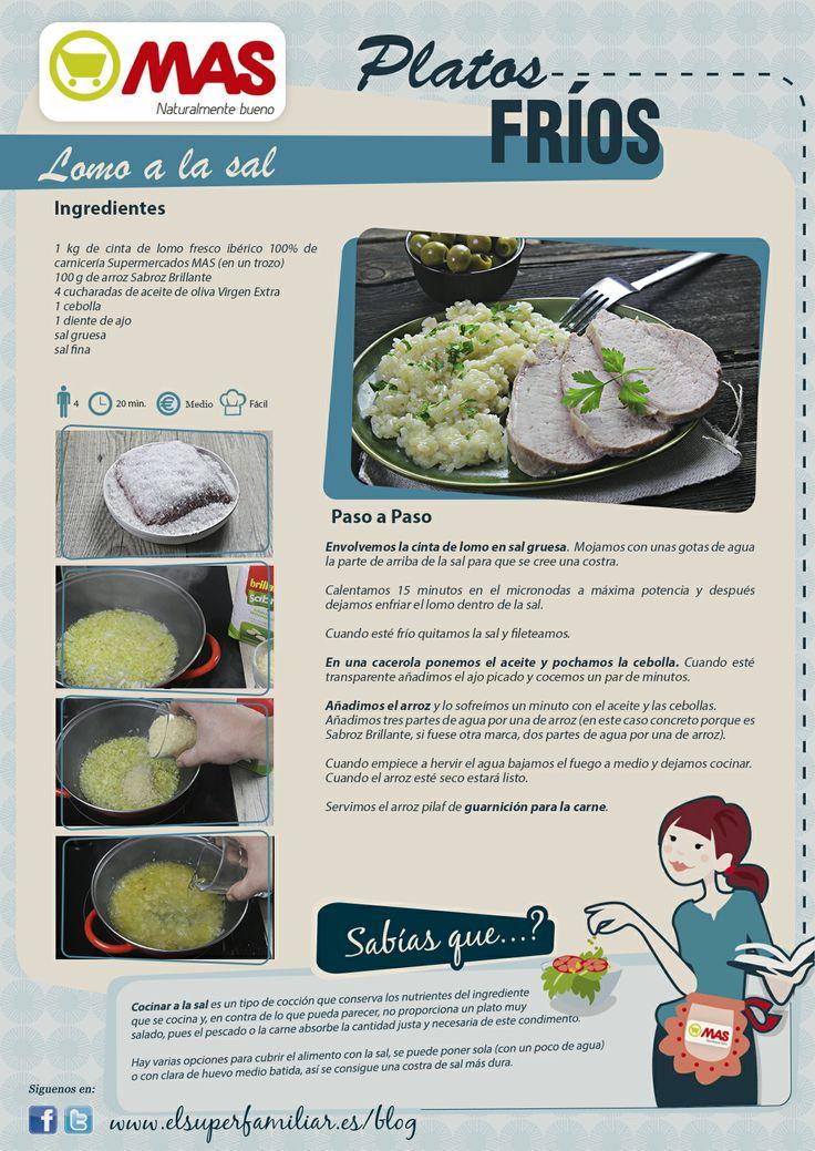 Lomo a la sal con arroz pilaf de guarnición. receta saludable