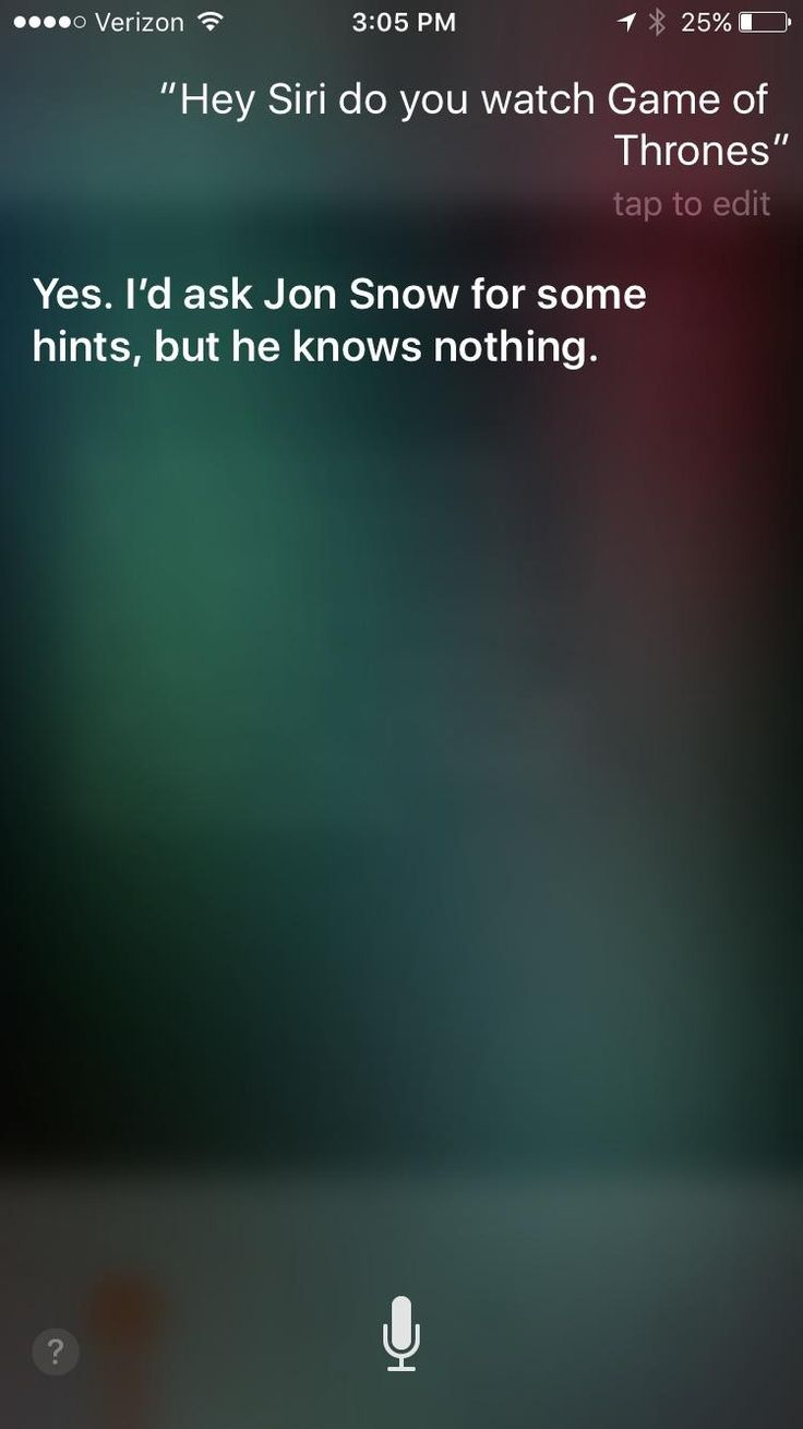 Tried asking Siri about Game of Thrones as well and got something different