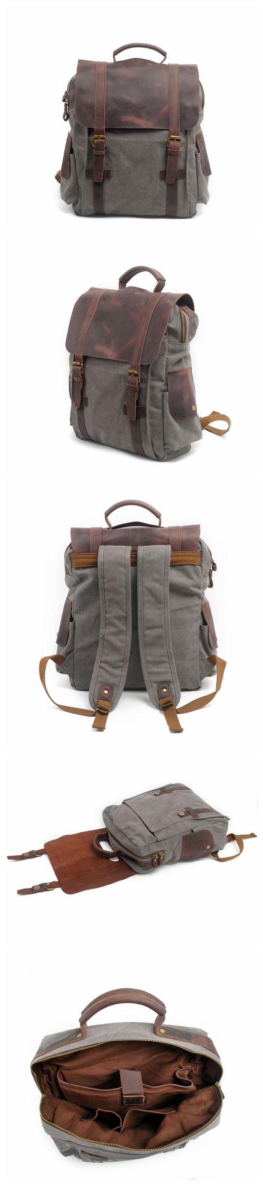 Moshi Hot Sale Canvas Leather Backpack, Waxed Canvas Backpack School Backpack