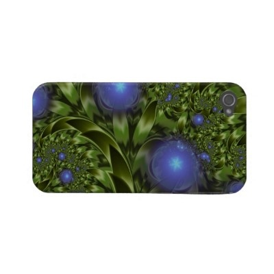 Flowers Leaves Abstract Blue Green Fractal Case-mate Iphone 4 Case