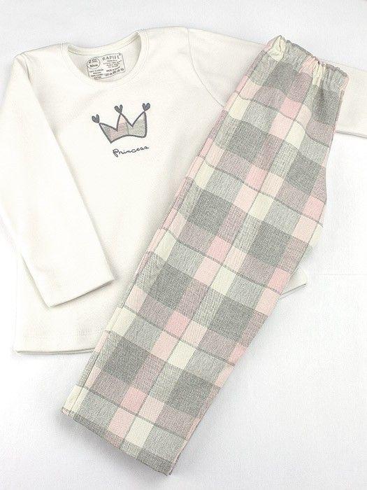 Pijama infantil  con bordado. Camiseta de punto en algodón y pantalón de tela a cuadros. Pijama rapife 100% made in Spain.