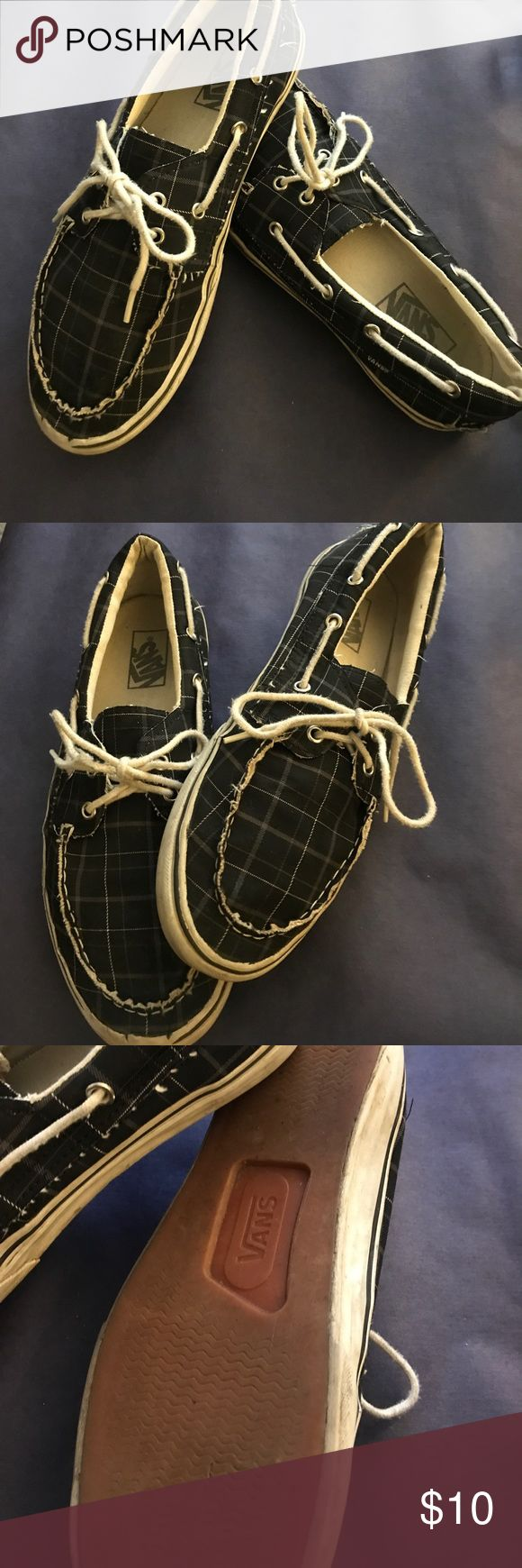 Men's size 10 Vans Boat Shoes Men's size 10 Vans Boat Shoes, plaid black and white lace up. Broken in and still have a ton of life left. Vans Shoes Boat Shoes