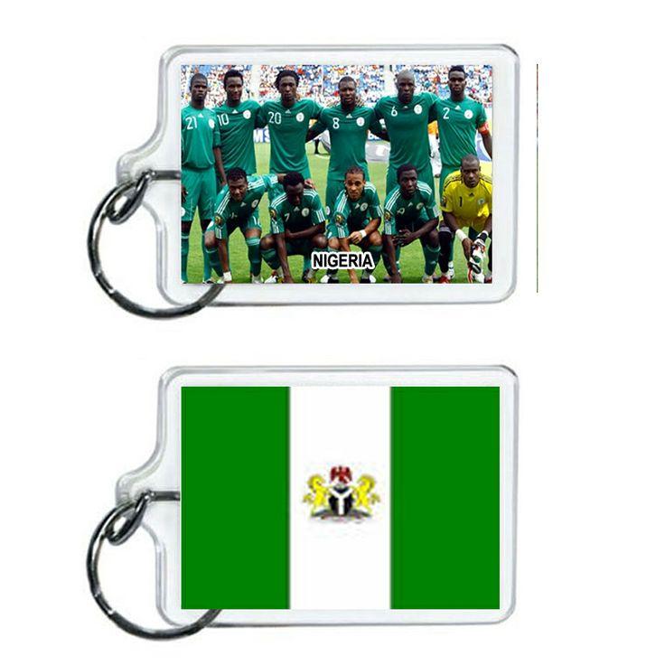 Nigeria Soccer Flag 2014 Team Player Acrylic Keychain 2 x 1 | www.balligifts.com