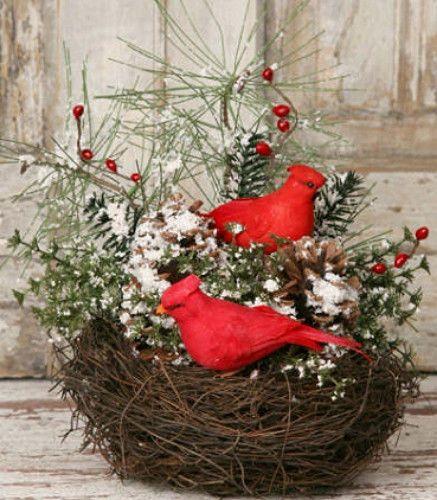 New Country Primitive Winter CARDINAL BIRD NEST Snowy Pine Twig Centerpiece