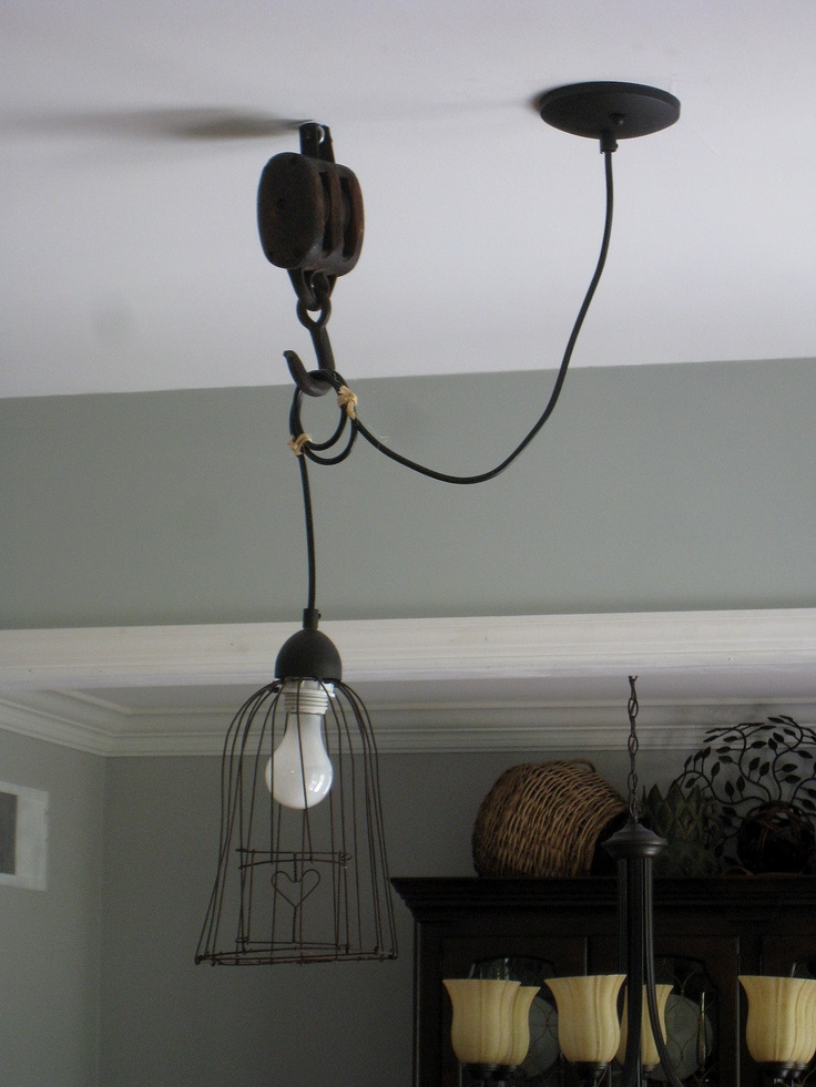 Pendant light w pulley upcycled industrial decor for Decorating with pulleys
