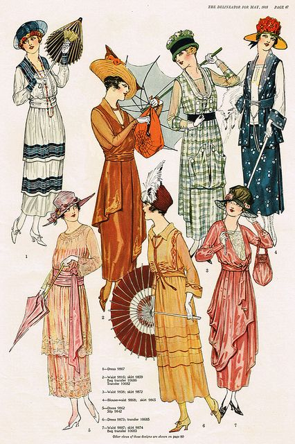 More fashion that was around the year of 1918. These are a variety of gowns that were filled throughout the 1910's. They are symmetrical, sinched in a-line gowns.