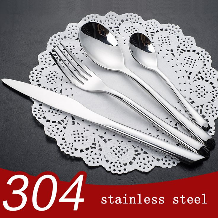 High grade 304 Food Grade Stainless Steel Cutlery Set  24 Pieces Set Adults Travel Picnic Cutlery Knife Fork Set